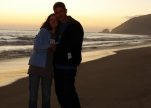 My husband and I during our honeymoon somewhere north of Malibu. We drove a helluva a long way to get there, but it was so worth it.