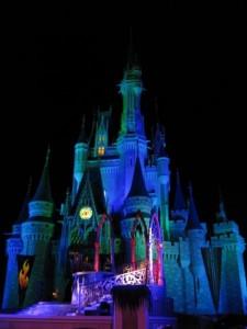 Cinderella's Castle at night in Disney World