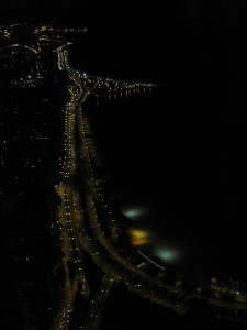 Lake Shore Drive at night as seen from the Hancock Observatory