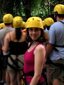 First I ziplined in Honduras (because helmet head is dead sexy) ...